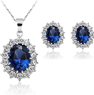 Set orecchini, collana, ciondolo, Stayeal, zaffiro blu, da donna, principessa