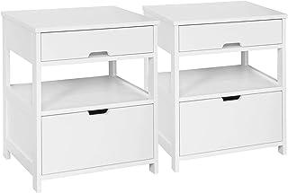 comprar comparacion SoBuy FRG258-WX2 Set de 2 Mesas auxiliares con 2 cajones, Consola,mesita de Noche para salón Comedor, teléfono o lampara (2)