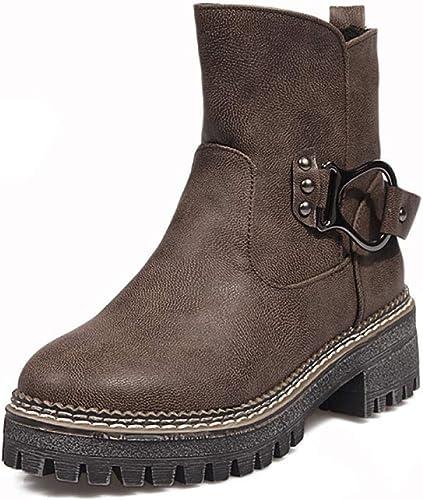 ZHRUI Stiefel para damen - Gruesas con Stiefel de otoño e Invierno Cálido en la Hebilla del cinturón schuhe de algodón de Moda 34-43 (Farbe   braun, tamaño   38)