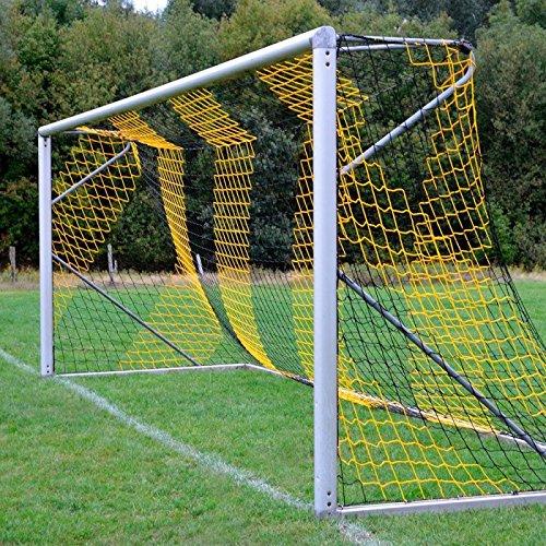 DONET Jugend - Fußballtornetz 5,15 x 2,05 m Tiefe Oben 0,80 / unten 1,50 m, zweifarbig, PP 4 mm ø, schwarz/gelb