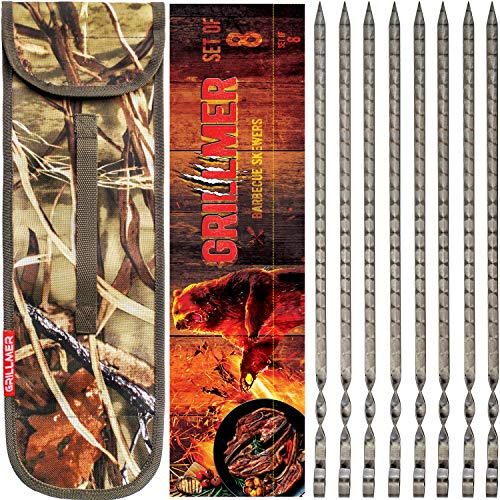 """GRILLMER The Most Beautiful BBQ Skewers in The World, Made in The Europe, 17"""" Skewers Stainless Steel 8 Piece, Flat, Wide, Long Shish Kabob Skewers for Grilling, Ideal Metal Kebab Sticks (17 in)"""