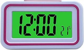 VISIONU Reloj Despertador Parlante en Español, Alarma LCD con Voz, Reloj Hablando (Blanco y Rosa)