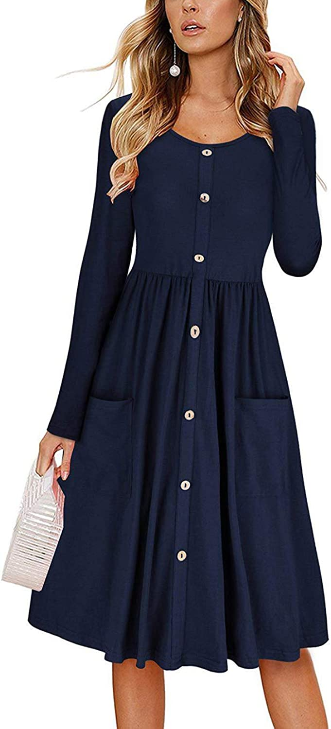 OQC Women's Casual Long Sleeve Round Neck Button Down Swing Midi Dress with Pockets