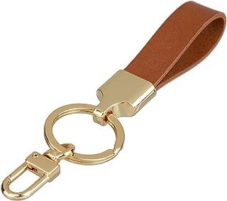 Richbud Full Grain Leather Gold Key Ring Lobster Swivel Keychain Fob (Tan)