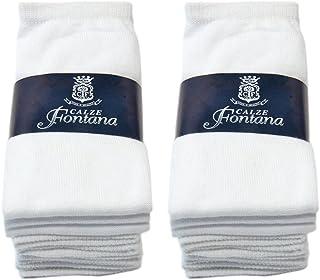Fontana Calze, 6 paia di calzini DONNA in cotone 100% in vari colori taglia unica(35/41). Prodotto italiano.