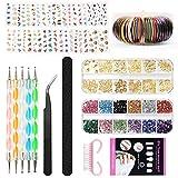 Nail Art Design Set Kit Pennelli Decorazioni Adesivi Nastro Decorazioni Strass, YZPUSI Ung...