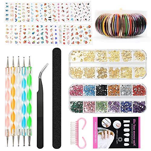 Nail Art Design Set Kit Pennelli Decorazioni Adesivi Nastro Decorazioni Strass, YZPUSI Unghie Nail Art Kit Attrezzi per Unghie Argento Colorate Strass Francese