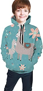 Cyloten Kid's Sweatshirt Cute Teal Mama Llama Novelty Hoodies Comfortable Warm Hooded Top Sweatshirt