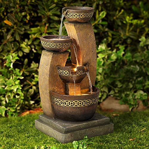 John Timberland Outdoor Floor Water Fountain Four Bowl Cascading Waterfall 41' Tall for Yard Garden Lawn