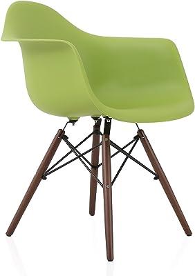 CozyBlock DAW Scandinavian Green Molded Plastic Dining Arm Chair with Dark Walnut Wood Eiffel Legs