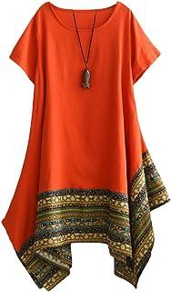 Vogstyle Donna Estate Lino Cotone Manica Corta Maglietta Tops Shirt Vestito