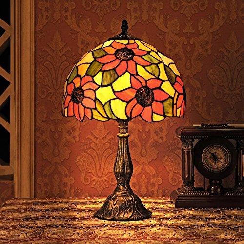 12-Inch Idylle Sonnenblume Tiffany Tischlampe Schlafzimmerlampe Nachttischlampe