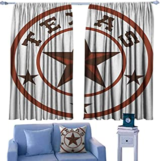 Mannwarehouse Texas Star Sliding Curtains Round Symbol with Lone Star Earth Toned Monochromatic Illustration for Living, Dining, Bedroom (Pair) 55