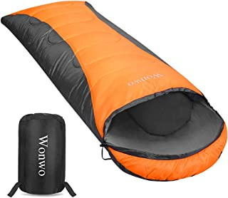 Wonwo 寝袋 シュラフ 冬用 封筒型 スリーピングバッグ 2.4kg 快適温度5℃ 防水 軽量 丸洗い可能 収納袋付き アウトドア/キャンプ/登山/車中泊/防災用