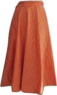 SNEH Women's Silk Gold Print Checkered Skirt (Orange,Free Size)