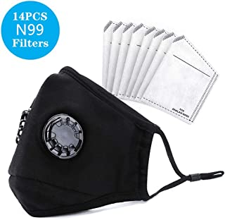 ANALAN Dust Masks Reusable Washable Face Mask Air Masks For Dust Smoke Pollen With N99 Filters (Black,14pcs Filter)