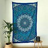 momomus Tapiz Mandala Estrella - 100% Algodón, Grande, Multiuso - Tapices de Pared Decorativos Ideales para la Decoración del Hogar, Habitación o Salón - Azul, 135x210 cm