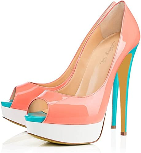 DYF Chaussures femmes de grande taille de couleur solide haut talon pointu bouche peu profondes,P-W-Bleu,41