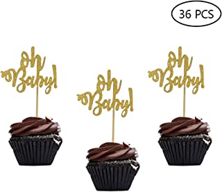 36 PCS Gold Glitter Oh Baby Cake Cupcake Toppers Picks for Wedding Birthday Baby Shower Kids' Party Decorations