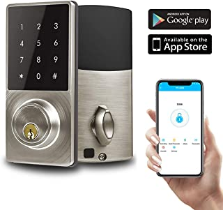 Smart Lock Deadbolt, Keyless Entry Door Lock, Electronic Bluetooth Enabled APP with Keypads Digit, Klwenas Maec Easy to Install, Sliver