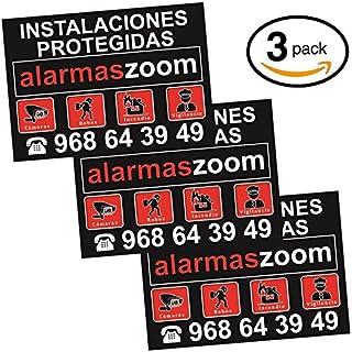 Pack 3 carteles rígidos instalaciones protegidas alarmaszoom en color negro. Seguridad hogar con cartel disuasorio