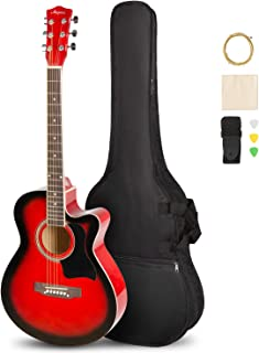 ARTALL 39 Inch Handmade Solid Wood Acoustic Cutaway Guitar Beginner Kit with Gig Bag, Strings, Picks, Strap, Glossy Red