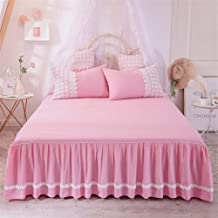 RUIDP Bed Skirt Lace Cotton Romantic Pleated dust-Proof Valance Fitted Sheet Bed valances Double Bed Pink Ruffles Abrasion Resistant Washable dust Ruffle Valance