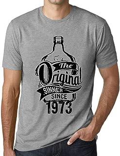 Ultrabasic Men's Graphic T-Shirt The Original Sinner Since 1973 Grey Marl