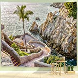BEIVIVI Tapestry, Art Tapestry Wall Hanging,La Quebrada (The Famous Divers' Cliff) of Acapulco, Mexico,Wide Wall Hanging for Bedroom Living Room Dorm,60x40 in