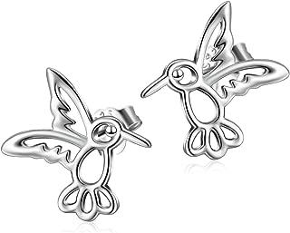 Sterling Silver Bird Earrings Mini Cute Hummingbird Stud Earrings for Women Girls