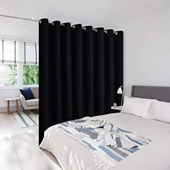 NICETOWN Room Separator Curtains Screens Partitions, Utter Blackout Extra Large Grommet Top Folding Room Dividers Curtain Panel (1 Piece, 9ft Tall x 15ft Wide, Black)