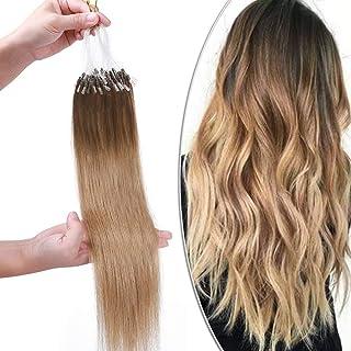 Elailite Extensiones Cabello Natural Micro Ring 100 Mechas Anillas Pelo Humano sin Clip 50g 100% Remy Human Hair 50cm #4T2...
