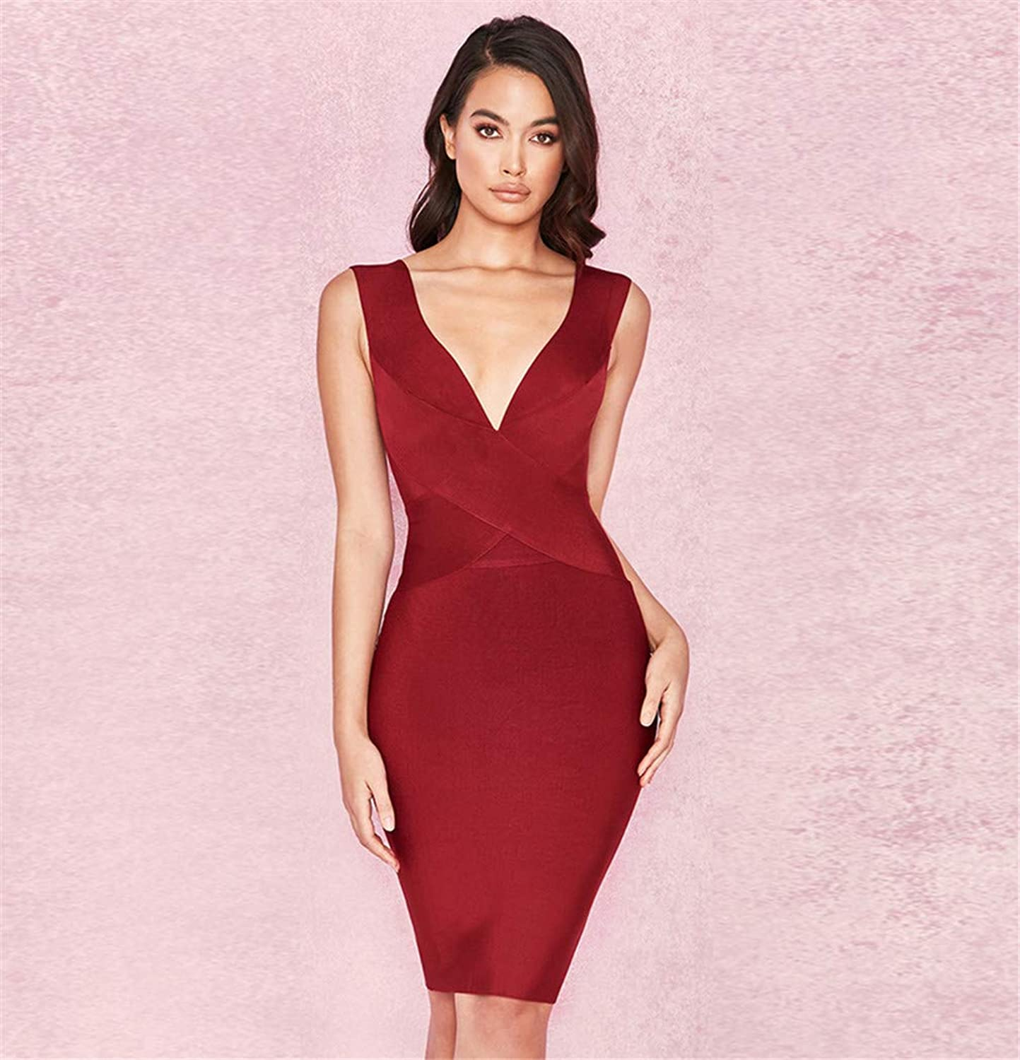 Evening Dress, Sexy red Deep VNeck Europe and America Elegant Sleeveless Spandex Slim Fit Party Party Dress