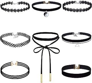 Akstore 8 PCS Velvet Choker Classic Choker Necklace Layered Black Chokers Necklaces Cute Black Velvet Choker Necklace Womens