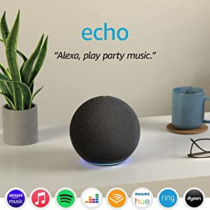 Echo (4th generation) | With premium sound, smart home hub and Alexa | Charcoal