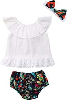 gllive Infant Baby Girls Off Shoulder Ruffle Tops + Floral Shorts Bottoms+Headband 3PCS Outfits Clothes Set