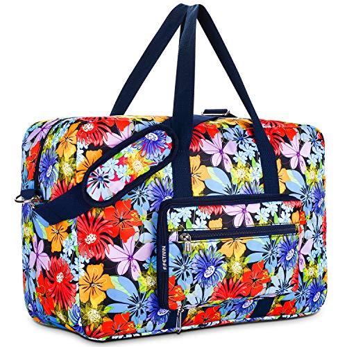 Travel Foldable Waterproof Duffel Bag - Lightweight Carry Storage Luggage Tote Duffel Bag. (Purple Flower)
