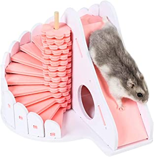 FlusRap Wooden Hamster Sleep nest, Climbing Ladder Toy, Hamster,Wooden Hamster Sleeping Nest Eco-Friendly Climbing Ladder Slide Toys for Small Animals.