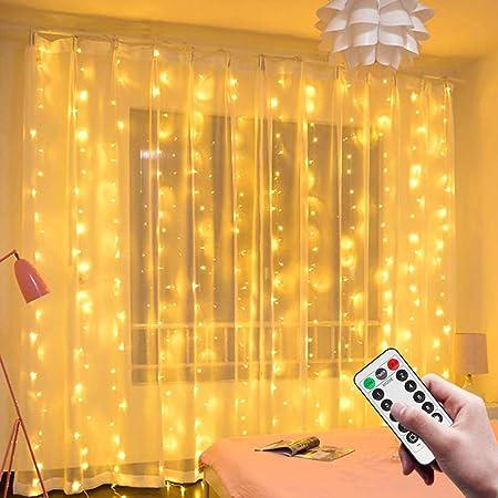 Sooair Rideau Lumineux, 3M*3M USB Guirlandes Lumineuses 300 LED, 8 Modes Télécommande minuterie Deco pour Rideau De Mariage Patio Etanche Extérieur Intérieur Fête De Noël Jardin Chambre Décoration