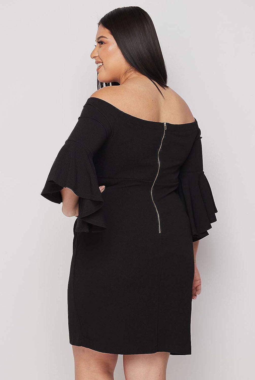 Teeze Me Women's Plus Size Ruffle-Sleeve Off-The-Shoulder Party Dress Black