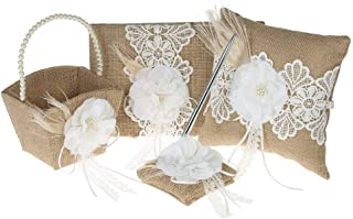 Fbest 4pcs/Set Vintage Rustic Burlap Wedding Supplies Flower Girl Basket + Ring Bearer Pillow + Guest Book + Pen Holder Set