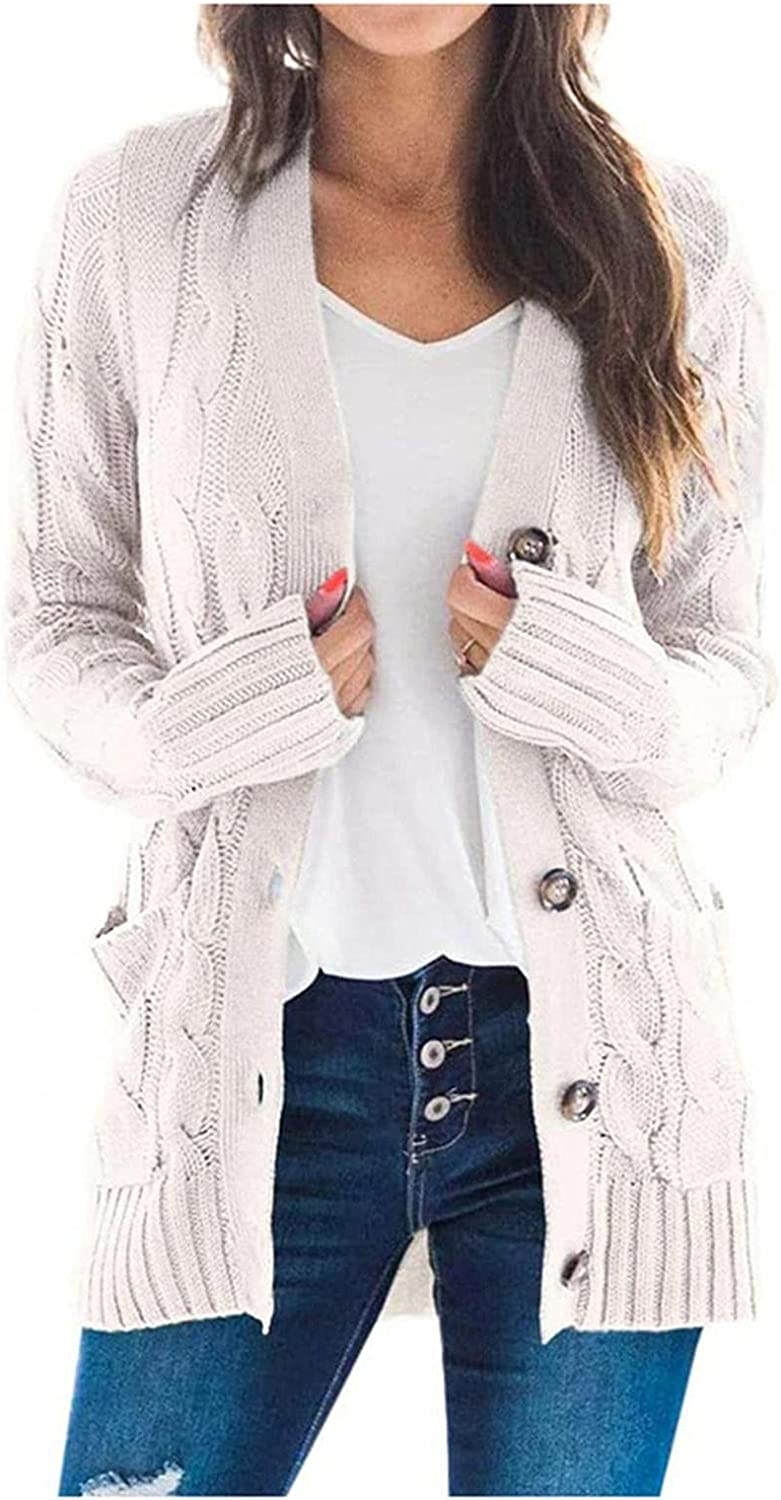 BAGELISE Women's Button Down Long Sleeve, Cardigan Sweaters Chunky Cable Knit Fashion Color Block Sweater with Pockets