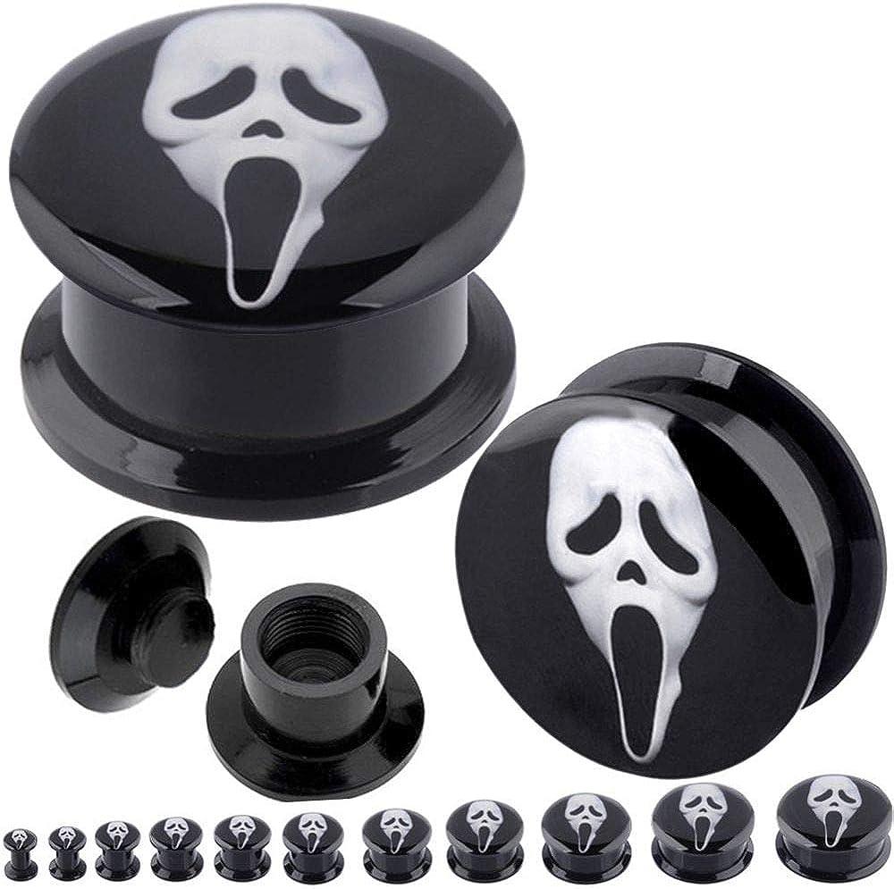 "PAIR-Ghostbusters Acrylic Screw On Stash Ear Plugs 25mm//1/"" Gauge Body Jewelry"