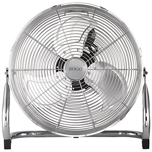 """Sogo Ventilador Industrial Grande de bajo consumo, Diámetro de 45 cm (18""""), 3 velocidades, Aspas de Aluminio - Cromado , Color: Plata"""