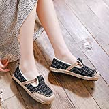 N&W Embroidered Shoes Handmade Women Embroidered Canvas Espadrilles Flats Japanese Style Ladies Comfortable Casual Slip on Loafers Shoes Old Beijing Embroidered Shoes (Color : Nero Size : 5 UK)
