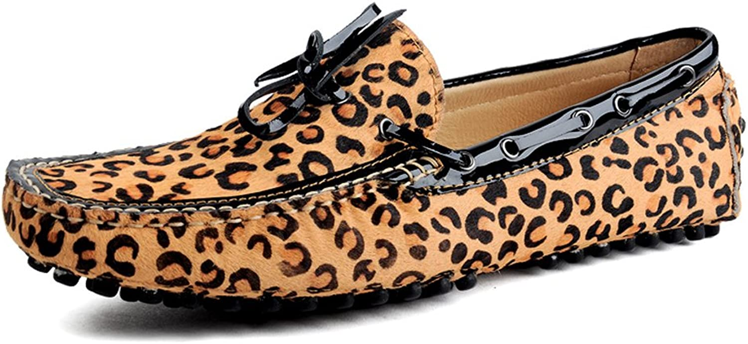 MedzRE Men's Leopard Print Suede Driving Moccasin Loafers