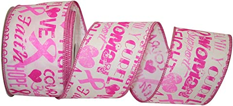 Reliant Ribbon 92541W-061-40F Cancer Awareness Words We Rd Ribbon, 2-1/2 Inch X 10 Yards, Pink