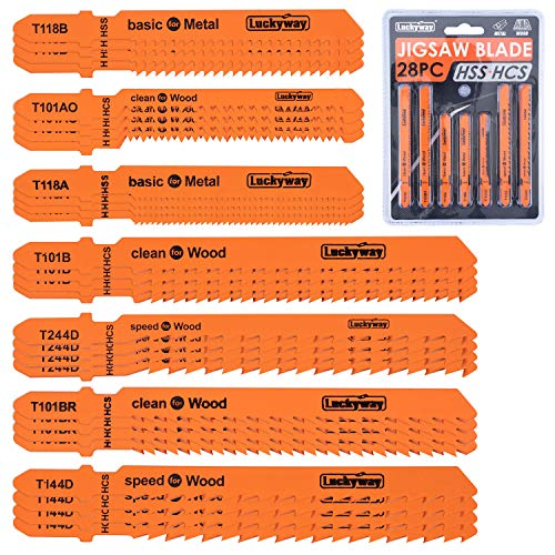 Luckyway 28-Piece T-Shank Jig Saw Blades Set, ,Assorted Blades, for Wood Plastic Metal Cutting