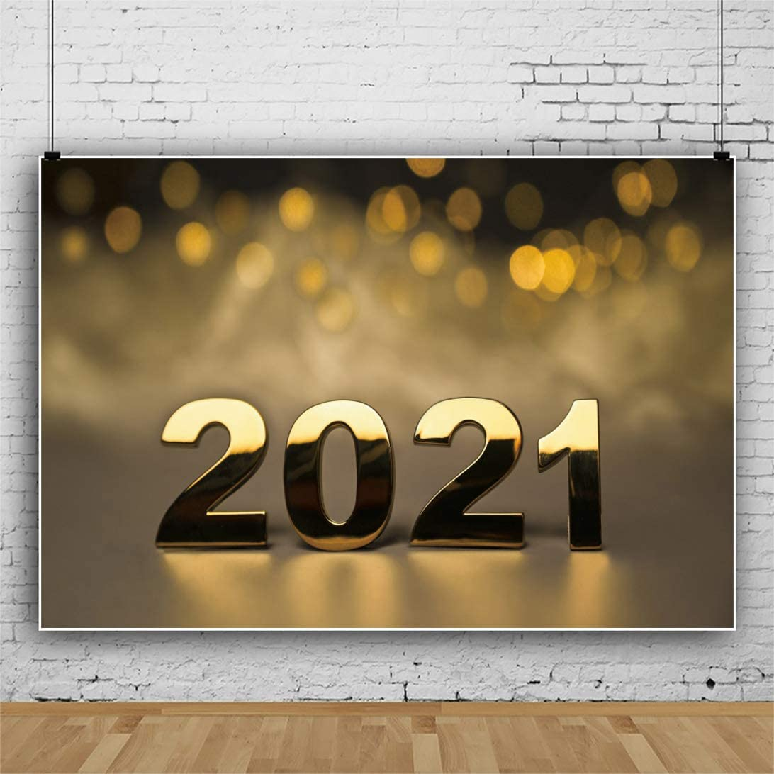 DaShan 14x10ft 2021 Happy New Year Backdrop Xmas 2021 New Year Eve Party 2021 Grad Graduation Photography Background Bokeh Halo Spots Winter Party Golden Glitter Christmas YouTube Photo Prop
