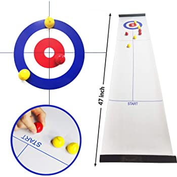 Tabletop Curling, Compact Portable Mini Curling Board Game, Family Games Tabletop Curling Game for Kids and Adults, Fun Kids Games for School/Travel/Office/Best Parent-Child Games Wonder Cool